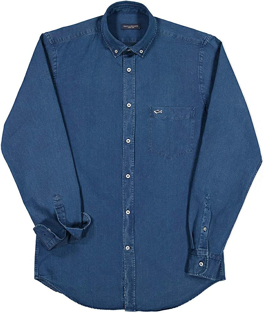 PAUL & SHARK COP3002-013 Camisa Denim Button Down con bolsillo Regular Fit algodón azul Denim azul (blu denim) 41: Amazon.es: Ropa y accesorios