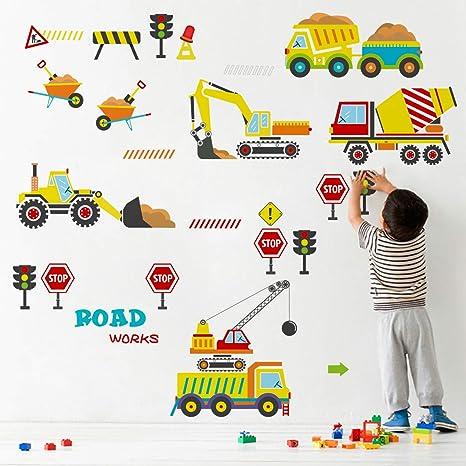 Decalmile Pegatinas De Pared Construcción Vehículo Vinilos Decorativos Infantiles Transportes Coches Adhesivos Pared Habitación Infantiles Bebés