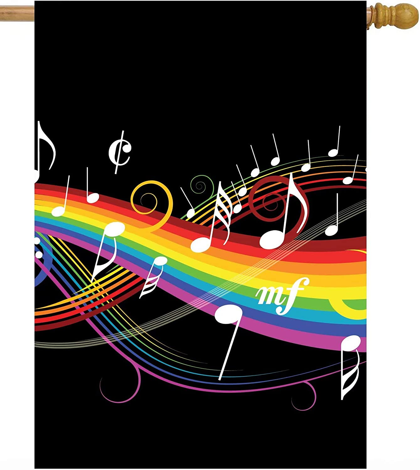 """ShineSnow Rainbow Music Musical Note Melody Artistic House Flag 28"""" x 40"""" Double Sided Polyester Welcome Large Yard Garden Flag Banners for Patio Lawn Home Outdoor Decor"""