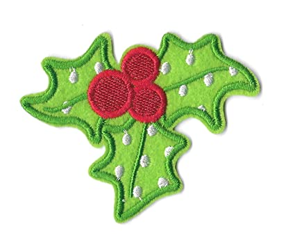 christmas holly decorations embroidered iron on applique patch