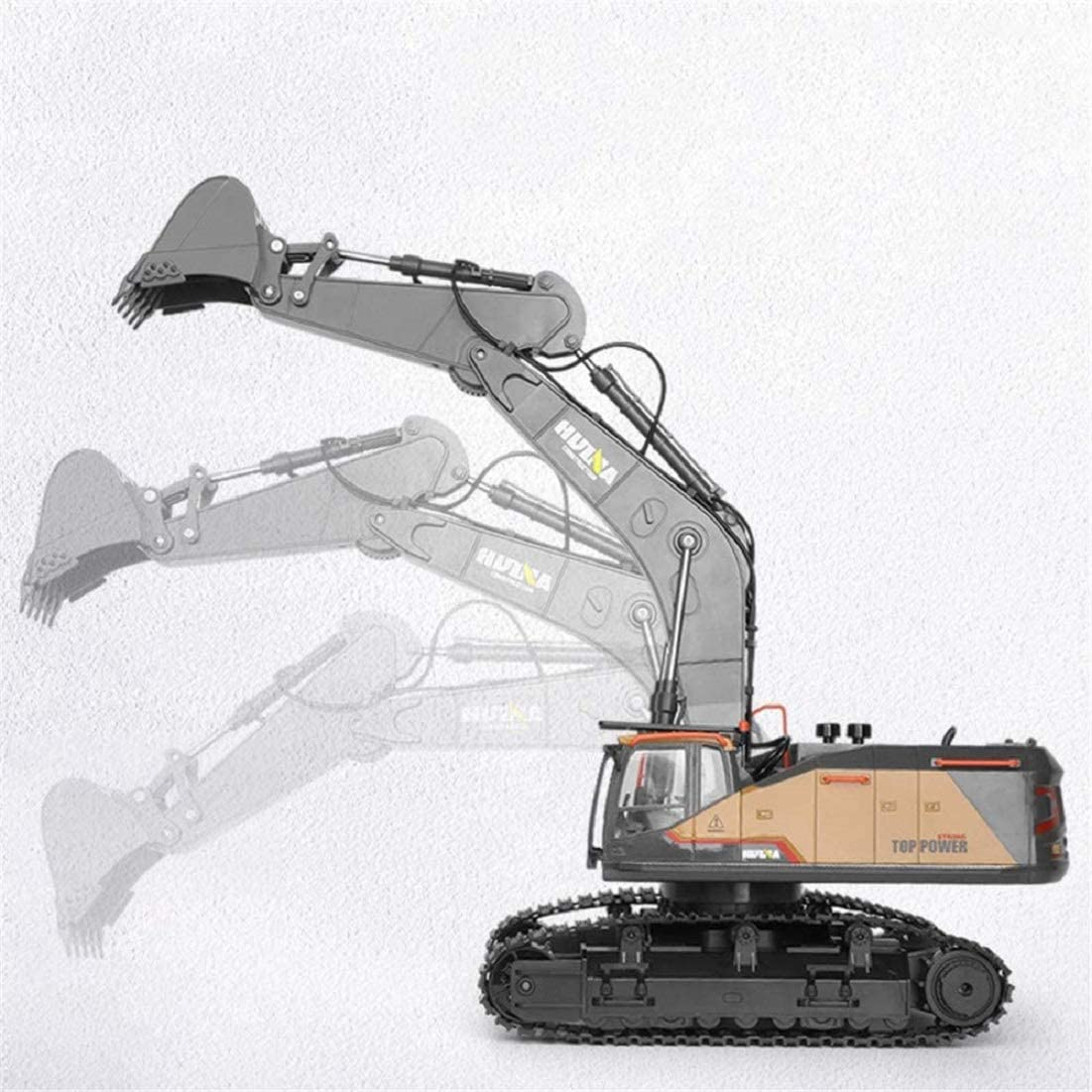 Fully Functional 1:14 Scale 22 Channels Huina 592 Remote Control Excavator Rechargeable RC Toy Truck Construction Vehicle with Metal Bucket and LED Lights and Simulating Sounds