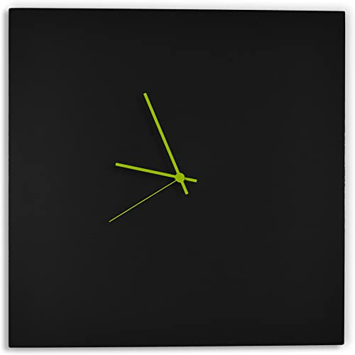 Modern Black Clock Blackout Green Square Clock Minimalist Metal Wall Clocks, Contemporary Decor – 16in. Black w Green Hands