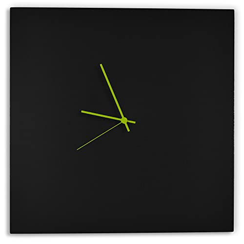 Modern Black Clock Blackout Green Square Clock Minimalist Metal Wall Clock