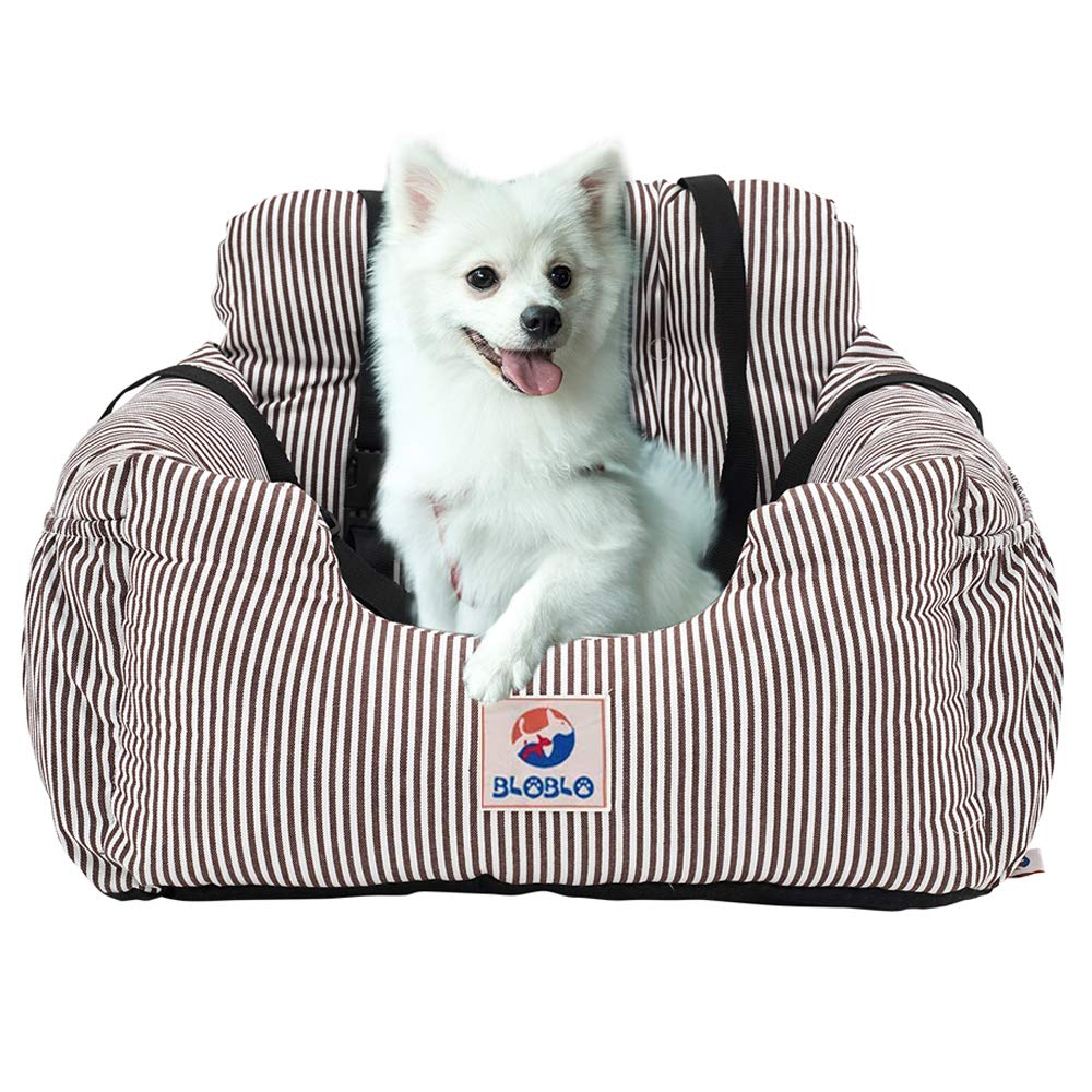 BLOBLO Dog Car Seat Pet Booster Seat Pet Travel Safety Car Seat Dog Bed for Car with Storage Pocket (Coffee Stripe) by BLOBLO
