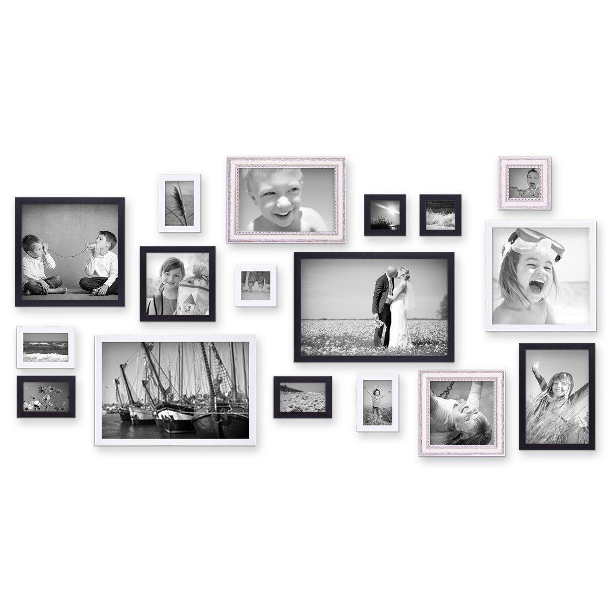 Amazon.de: Photolini 17er Set Bilderrahmen für grosse Bilderwand ...
