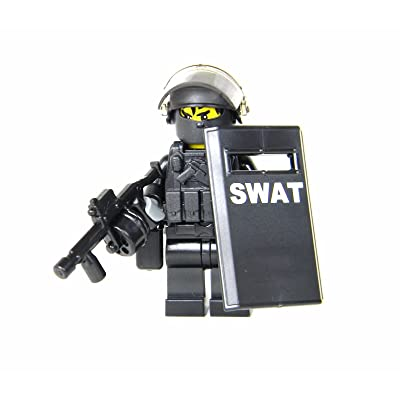 Battle Brick SWAT Police Officer Heavy Riot Control (SKU51) Custom Minifigure: Toys & Games