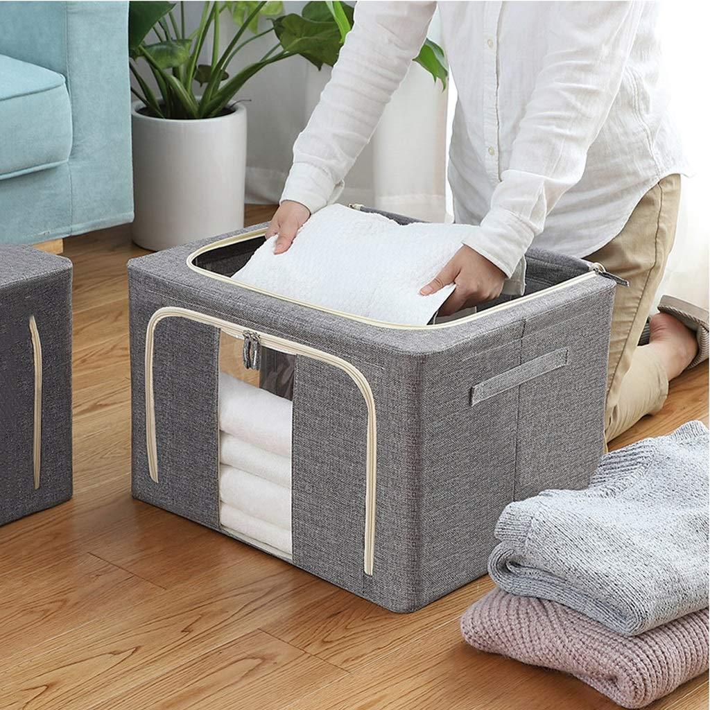Turssus Contenedor de lavander/ía con Tapa 2 Paquetes Caja de Almacenamiento de Ropa de Lino Grande Cesta de Lavado 66L Tama/ño Grande /× 2 Beige//Gris Color : Gray