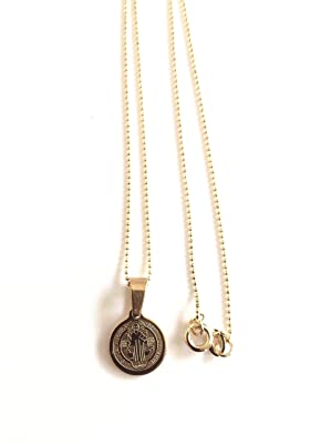 San Benito Stainless Steel Medal Dainty Ball Chain 17