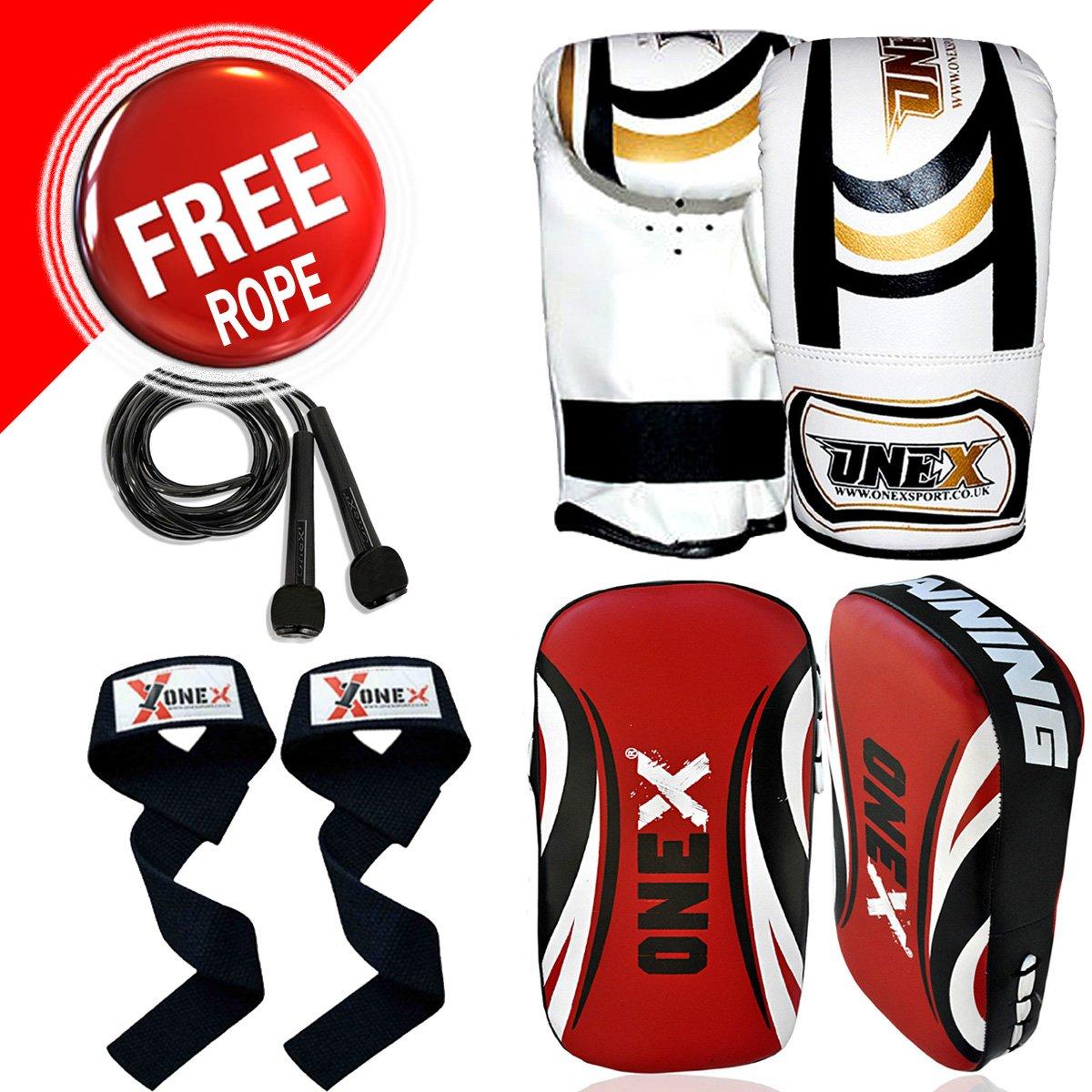 Professional Boxing Set, Punch Bag Set, Boxing Gloves, Boxing Kick Pad, Training Set, MMA Set, Adult Boxing Gym Straps Set For Men's & Ladies with Free Rope (Single Kick Pad) onex