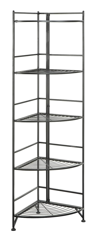 Convenience Concepts 5 Tier Folding Metal Corner Shelf, Black Finish