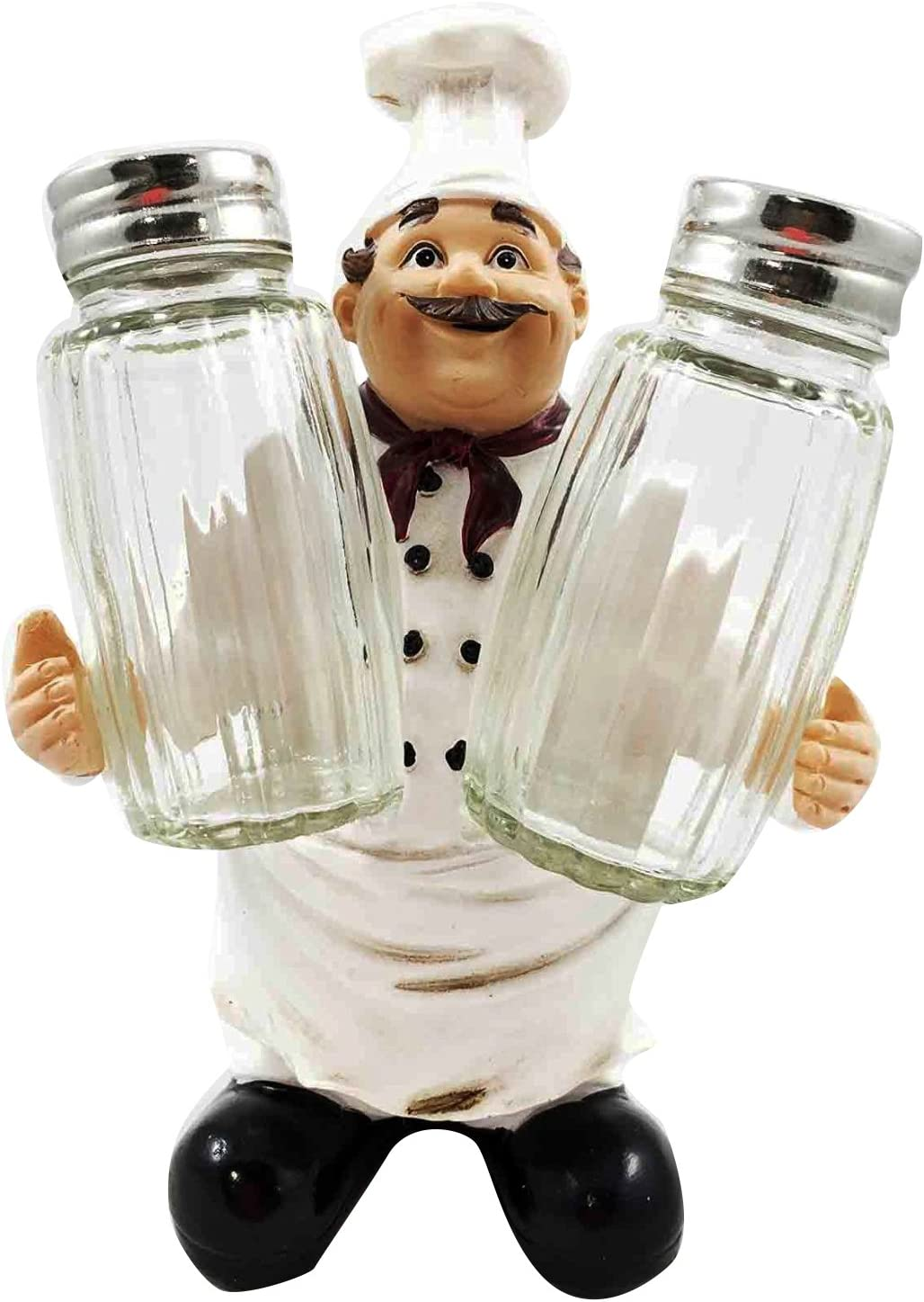 Ebros French Fat Bistro Chef Hugging Seasons and Spice Salt Pepper Shaker Holder Figurine Stand Iron Chef Sous Food Taster Cook Decor Statue