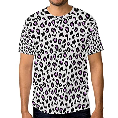Horatiood Huberyyd Baby Girl Leopard Print Pink Mens T Shirts Graphic Funny Body Print Short T-Shirt Unisex Pullover Blouse