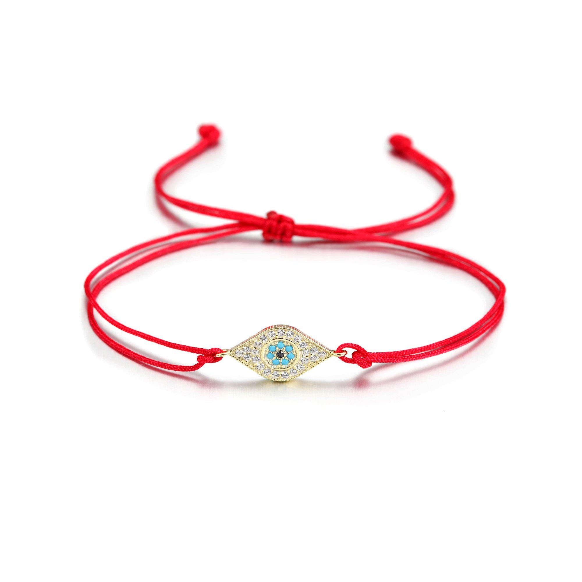 Wistic Evil Eye Adjustable Bracelet Kabbalah String Bracelet for Women Men Girls boys (Orange)