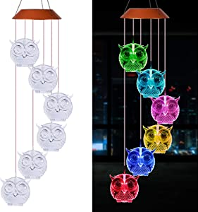 LED Solar Owl Wind Chimes Outdoor - Waterproof Owl Solar Light, Solar Powered LED Changing Color Light Owl Mobile Romantic Wind-Bell, Gift for Mom, Home, Party, Festival Decor, Night Garden Decoration