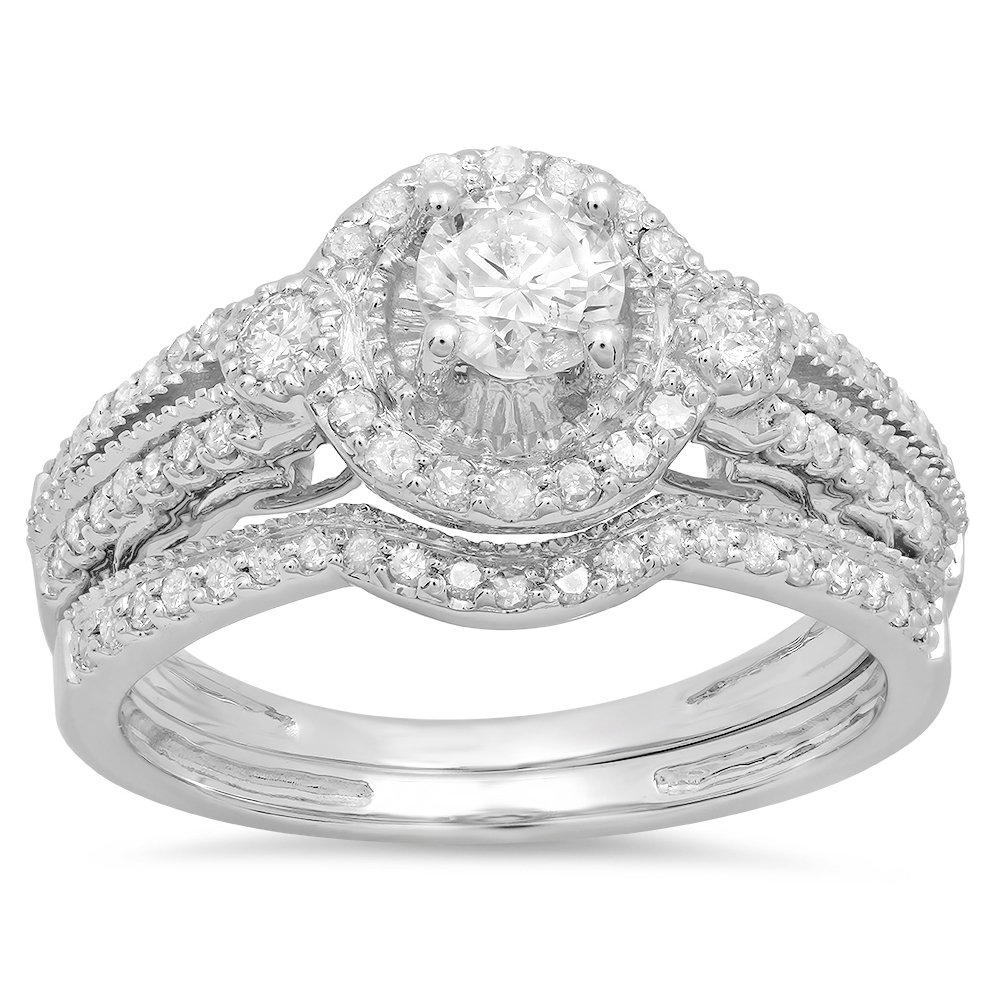 Amazon: 098 Carat (ctw) 14k White Gold Round White Diamond Bridal Halo Engagement  Ring Set With Matching Band: Jewelry