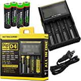 Nitecore D4 smart battery Charger with LCD display For Li-ion, IMR, LiFePO4 26650 22650 18650 17670 18490 17500 18350 16340 RCR123 14500 10440 Ni-MH And Ni-Cd AA AAA AAAA C Rechargeable Batteries with 4 x EdisonBright Ni-MH rechargeable AA batteries bundle