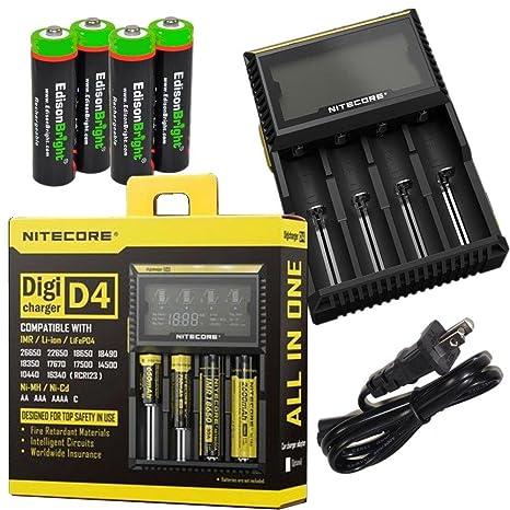 Nitecore D4 Cargador de batería inteligente con pantalla LCD ...
