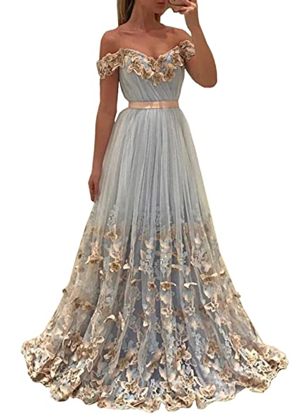 KaBuNi Womens Off the Shoulder Butterfly Floral Prom Dress Long Gowns Sky Blue2