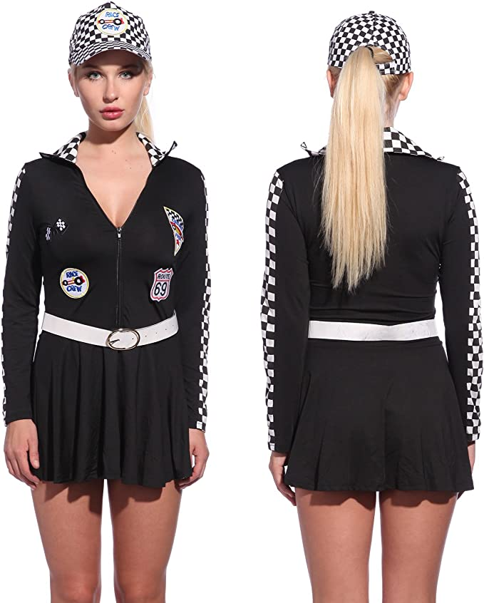 J82 Racer Racing Sport Driver Costume Super Car Grid Girl Fancy Dress Outfit