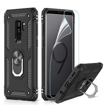 LeYi Funda Samsung Galaxy S9 Plus Armor Carcasa con 360 Anillo iman Soporte Hard PC y Silicona TPU Bumper antigolpes Fundas Carcasas Case para movil ...