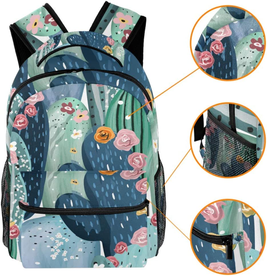 Beautiful Pastel Vintage Cactuses Succulents Cacti PatternTravel Laptop Backpack Casual Durable Backpack Daypacks for Men Women for Work Office College Students Business Travel Schoolbag Bookbag