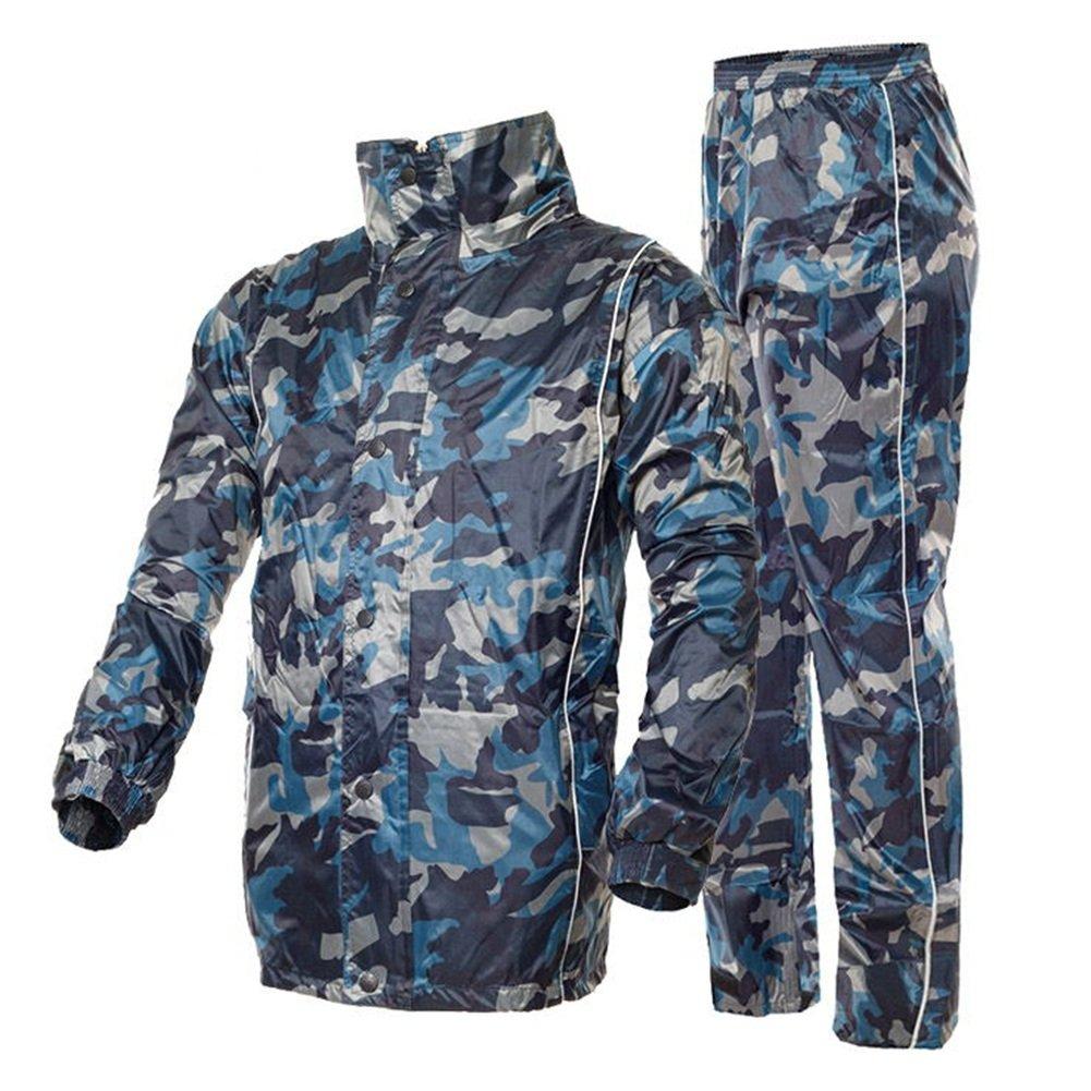 ZEMIN Regenjacke Poncho Regenponcho Regencape Jacke Windjacke Wasserdicht Abdeckung Unisex Set Hose Atmungsaktiv Polyester, Camo, 4 Größen Verfügbar (Farbe   Camo, größe   XXXXL)