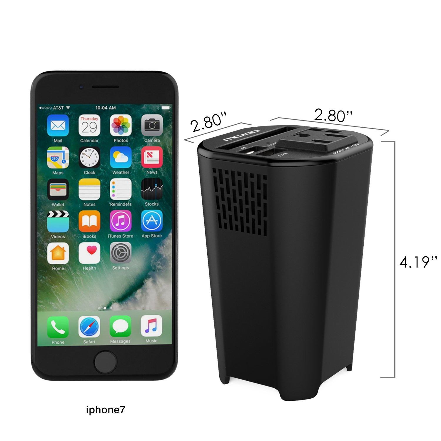 MoKo 150W Car Power Inverter, DC 12V to 110V AC Outlet Cup Holder Converter Adapter, with 4 USB Port Charger, for iPhone X/8/8 Plus, MacBook, iPad Pro, Chromebook, Galaxy S8 and etc. (Black) by MoKo (Image #7)