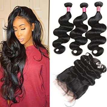 Water Weave Bundles With 360 Lace Frontal Pre Plucked With Baby Hair 360 Lace Wig With 3 Bundles Peruvian Remy Hair With Bundles Factory Direct Selling Price Hair Extensions & Wigs