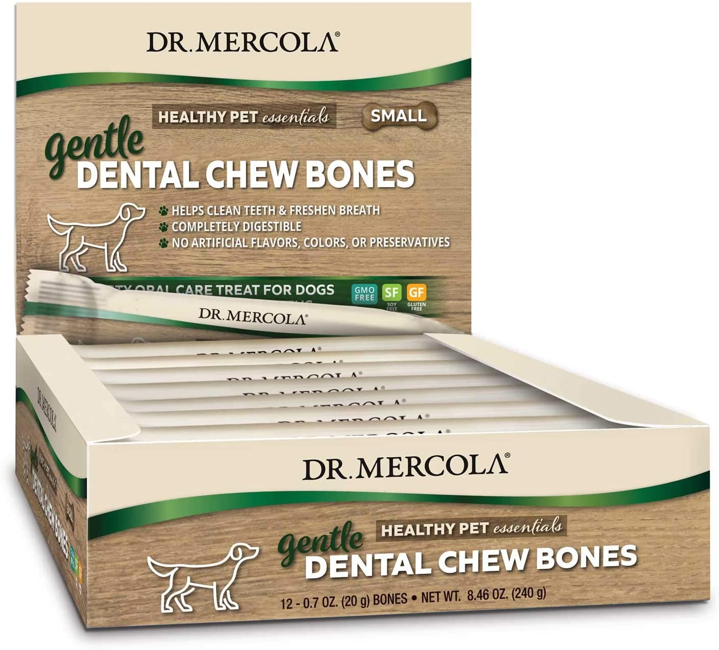 Dr. Mercola Gentle Dental Chew Bones, 12 Bones, Non GMO, Gluten Free, Soy Free