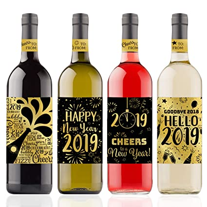 new years eve 2019 wine bottle sticker labels gold metallic foil 4 count