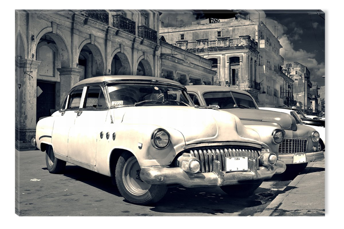 Startonight, luce nel buio Quadro su tela, Retro Auto a Cuba 60 cm x 90 cm Made in Transylvania DTB5432