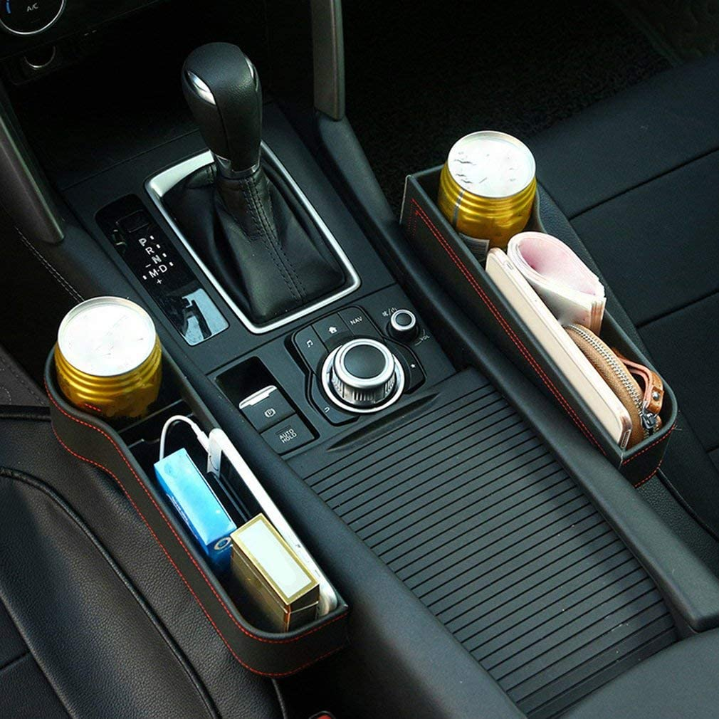 Black 2Pcs Car Seat Gap Filler Car Seat Gap Storage Box PU Leather Car Seat Gap Catcher Organiser Car Console Side Pockets