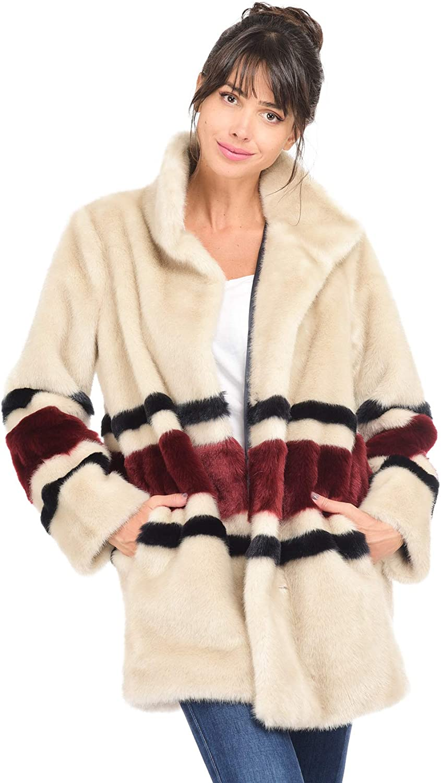 Manteau long en fausse fourrure beige femme | lauren vidal