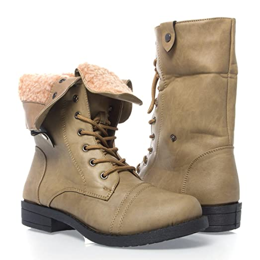 Womens 40-TAMMY11 Closed Toe Military Ankle Bootie Shoes