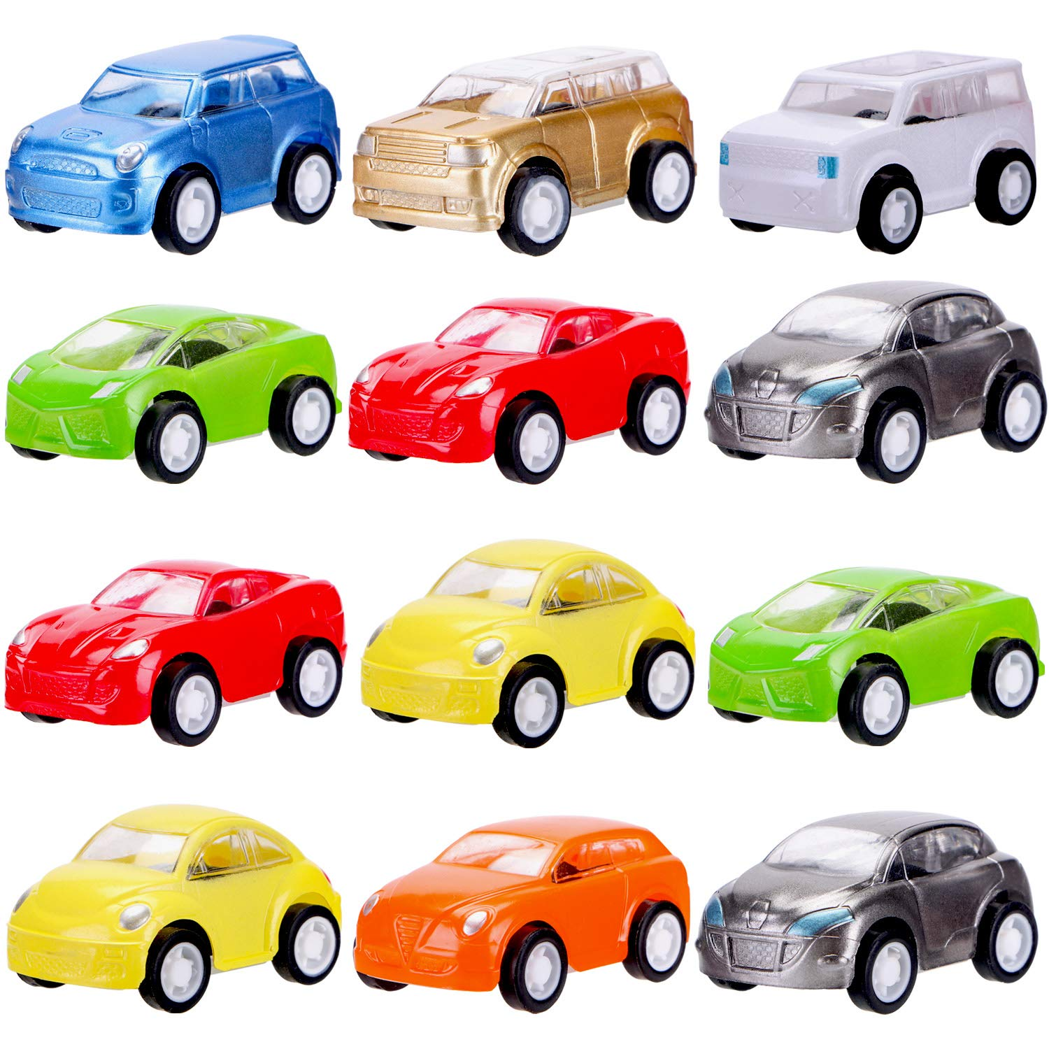 12 Pcs Filled Easter Eggs with Toy Cars,3.15''-Easter Pary Favor-Plastic Prefilled Eggs with Mini Pull Back Vehicles Toys for Toddlers by Sizonjoy (Image #2)