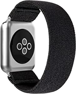 BMBEAR Stretchy Strap Loop Compatible with Apple Watch Band 38mm 40mm iWatch Series 6/5/4/3/2/1 Dark Black