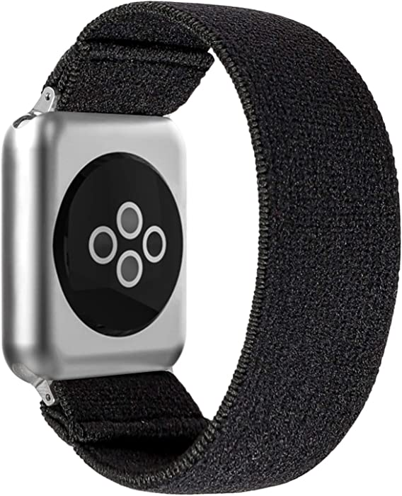 BMBEAR Stretchy Strap Loop Compatible with Apple Watch Band 42mm 44mm iWatch Series 6/5/4/3/2/1 Dark Black