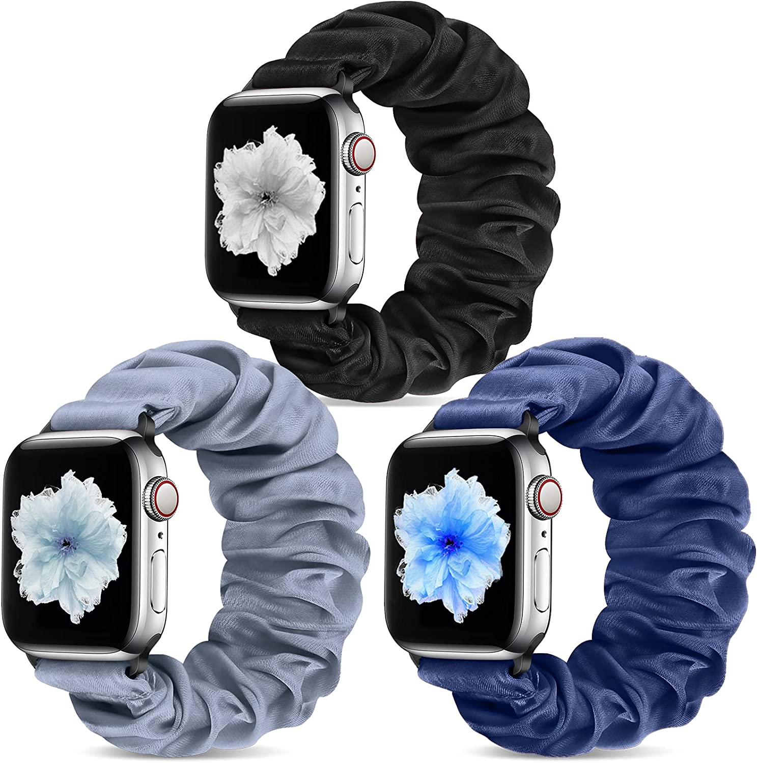 Vodtian Scrunchie Watch Band Compatible with Apple Watch 42mm 44mm, Solo Loop Elastic Replacement Watch Strap for iwatch Series 6/5/4/3/2/1, SE, Soft Fabric Wristbands for Women Girl