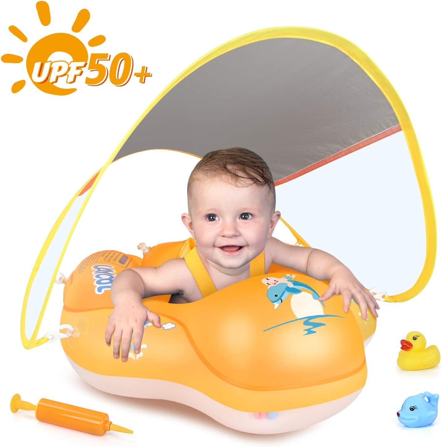 LAYCOL Baby Swimming Float Inflatable Baby Pool Float Ring Newest with Sun Protection Canopy,add Tail no flip Over for Age of 3-36 Months /…