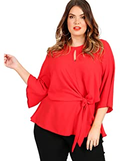 bcfa6ede9d94e Lovedrobe Koko Women s Plus Size Red Knot Front Blouse with Keyhole Detail