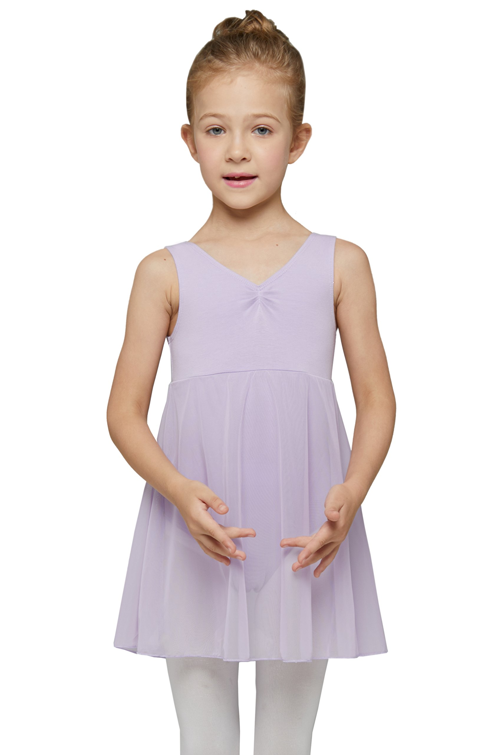 Dance Leotard with Skirt for Girls by Mdnmd (Tag 120) Age 4-6, Purple)