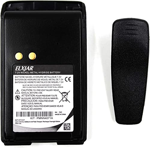 2-Pack 7.2V Ni-MH Replacement Battery for Motorola Radios MagOne BPR40 A8 PMNN4071 PMNN4071A PMNN4071AR Walkie Talkies with Belt Clip