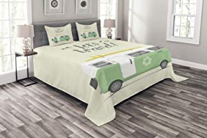 Ambesonne Camper Bedspread, Lets Travel Words with Vintage Hippie Van Surfboard and Flower Motif, Decorative Quilted 3 Piece Coverlet Set with 2 Pillow Shams, Queen Size, Pale Green