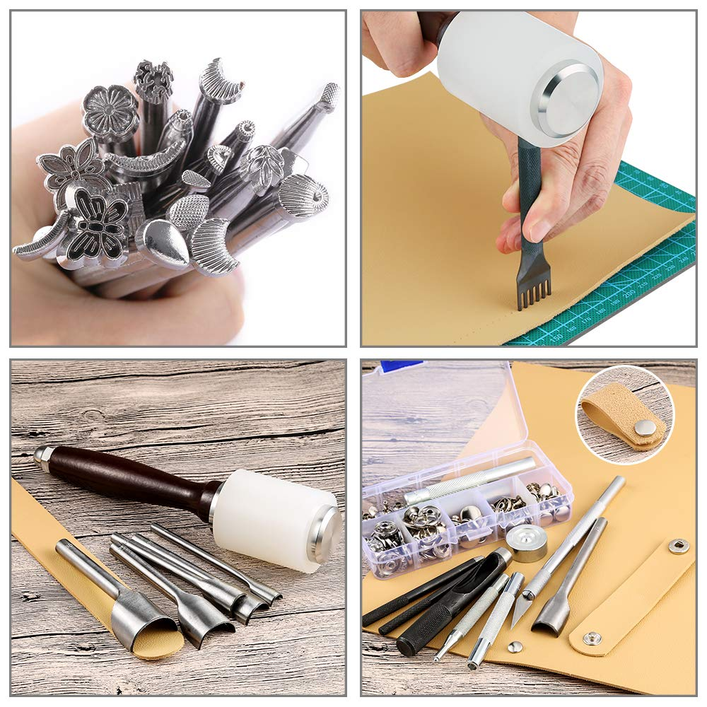 Caydo 127 Pieces Leather Craft Tools Kit with Instructions, Leather Sewing Tools, Punch Tools, Rivets Tools, Stamping Set and Wooden Handle Nylon Hammer for Leather Craft and Saddle Making Tools by Caydo (Image #3)