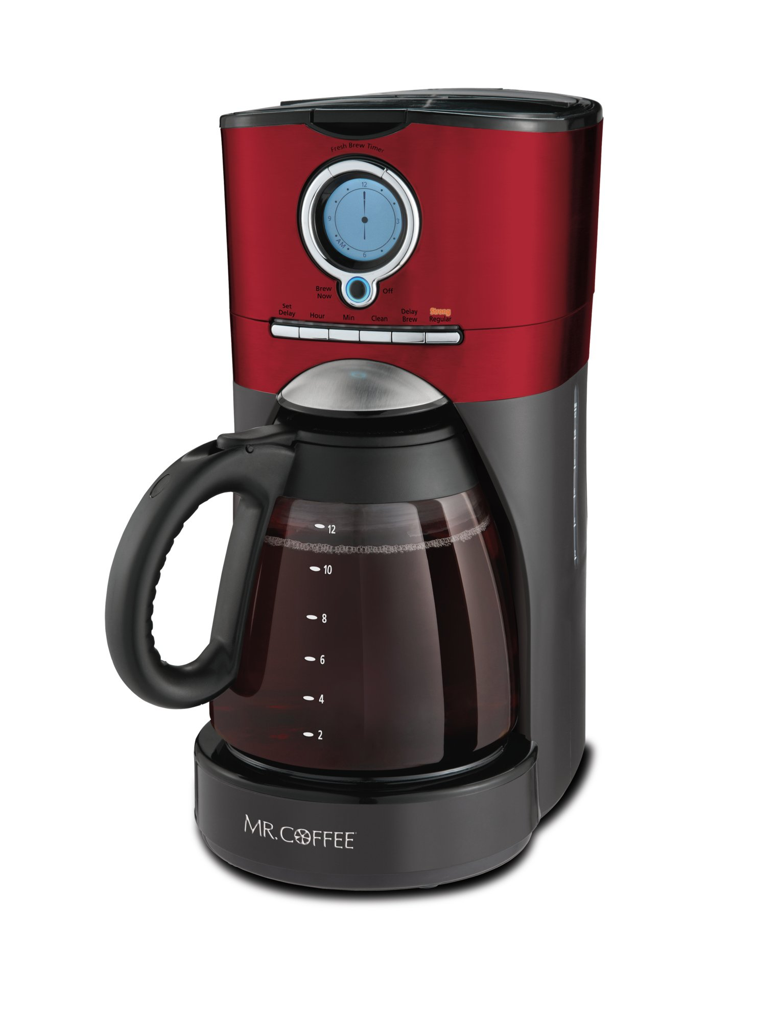 Mr. Coffee Performance Brew 12-Cup Programmable Coffee Maker, Red/Black/Stainless Steel
