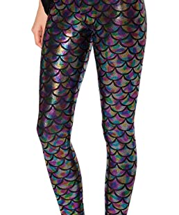Alaroo Women Bling Mermaid Print Scale Leggings Pants Rainbow S