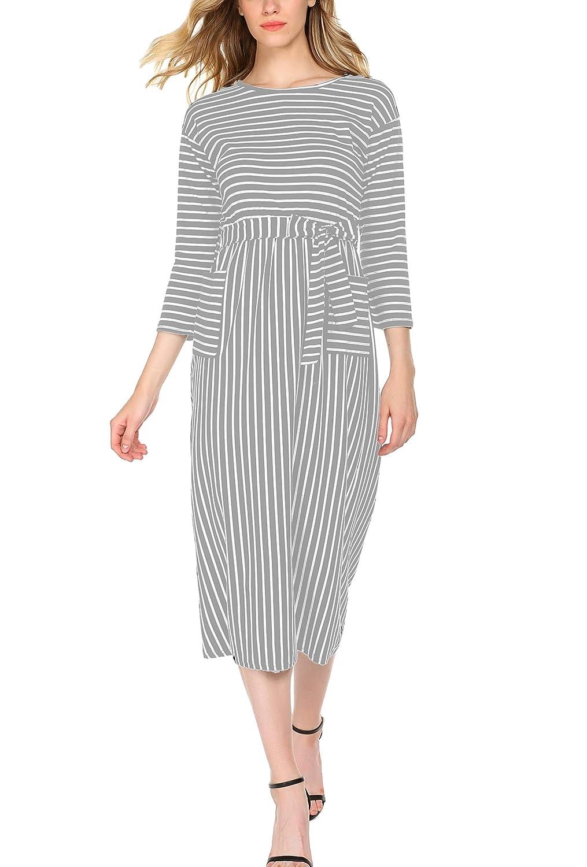 ce982e9e57 Hount Women s Striped Long Sleeve Pockets Maxi Dress Empire Waist Casual  Flowy Long Dress at Amazon Women s Clothing store