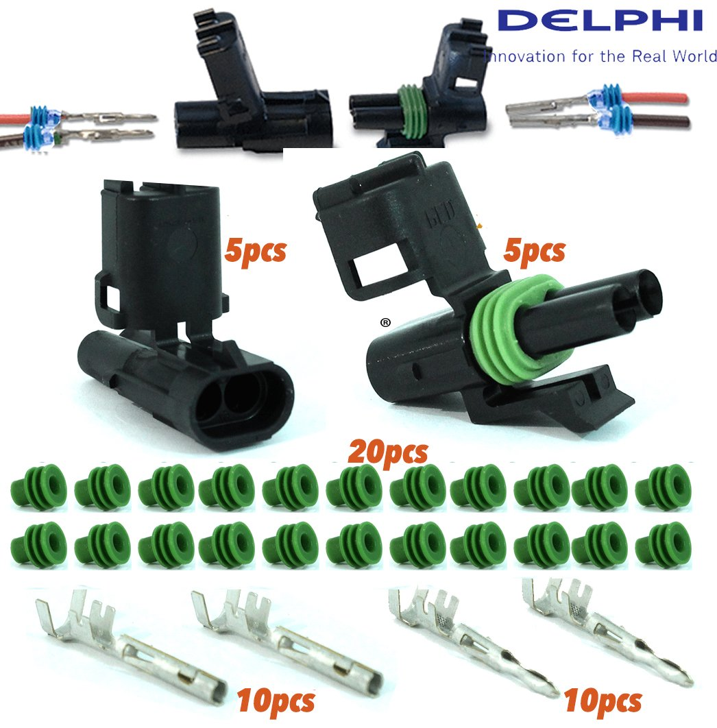 Delphi Packard (2 Circuits) 5 Match Set Weatherpack, Waterproof, Terminal Kit 18 20 GA, Aptiv (formerly Delphi)