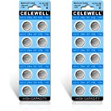 【5-Year Warranty】 CELEWELL LR44 AG13 357 A76 1.5V Button Cell Battery (20-Pack)