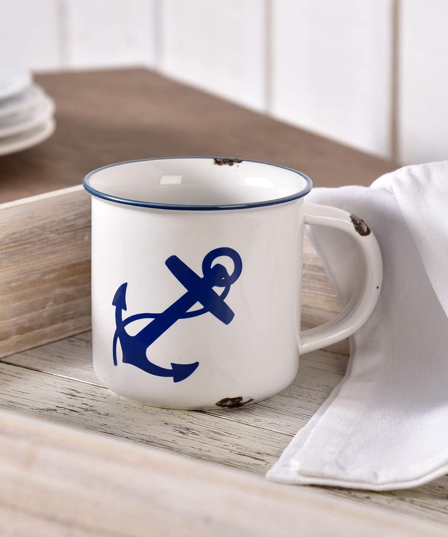 Antique Anchor Nautical Blue and White 14 ounce Ceramic Stoneware Coffee Mug